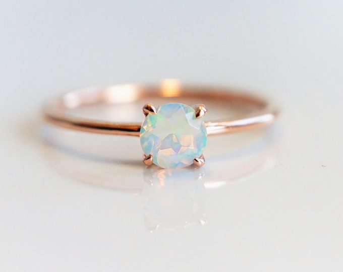 Eva - Ethiopian Opal 5 mm , solid 14k Gold Opal Ring, Opal Solitaire, Opal Dainty Ring, Opal Engagement Ring