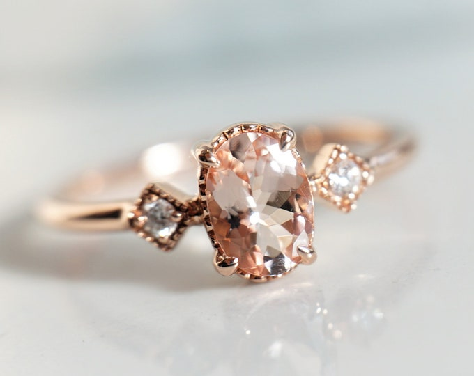 Cara - Oval Pink Morganite 14k Gold, Sterling Silver Morganite Ring, Natural Diamond Morganite Ring, Unique Morganite Engagement Ring