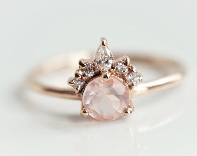 Olivia - Rose Quartz, solid 14k Gold Rose Quartz and Diamond, Rose Quartz Crown Ring, Rose Quartz Diamond Ring, Rose Quartz Engagement Ring