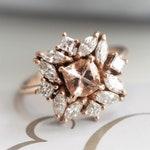Jasmine - Square Morganite & Diamond Antique Inspired Ring | 14k Morganite Cluster Ring | Morganite Cocktail Ring | Morganite Diamond Ring
