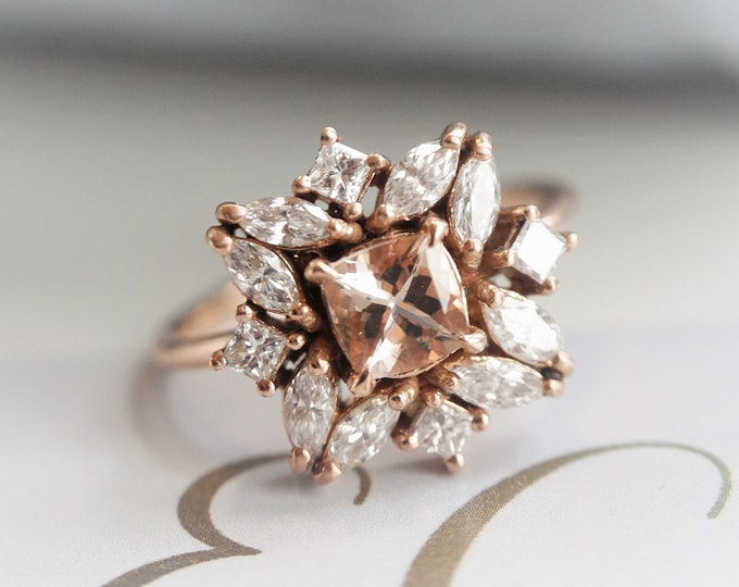 Jasmine - Morganite and 0.6 ct Diamond, White Sapphire or CZ, 14k Gold Morganite Cluster Ring, Morganite Engagement Ring