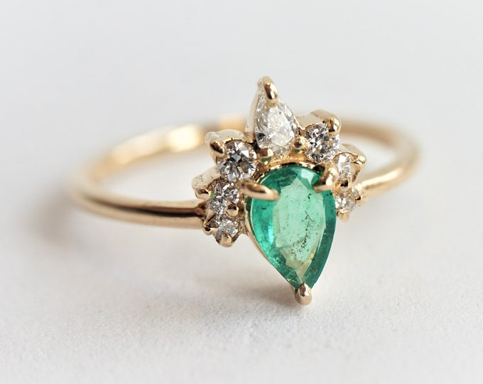 Ophelia - Natural Emerald, solid 14k Gold Emerald and Diamond, Emerald Crown Ring, Emerald Diamond Ring, Emerald Engagement Ring