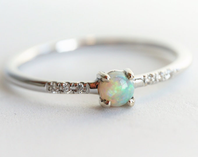 Naomi Opal - Natural Australian Opal and Diamond Ring, 14k Gold Diamond Opal Ring, Dainty Ring, October Birthstone Ring