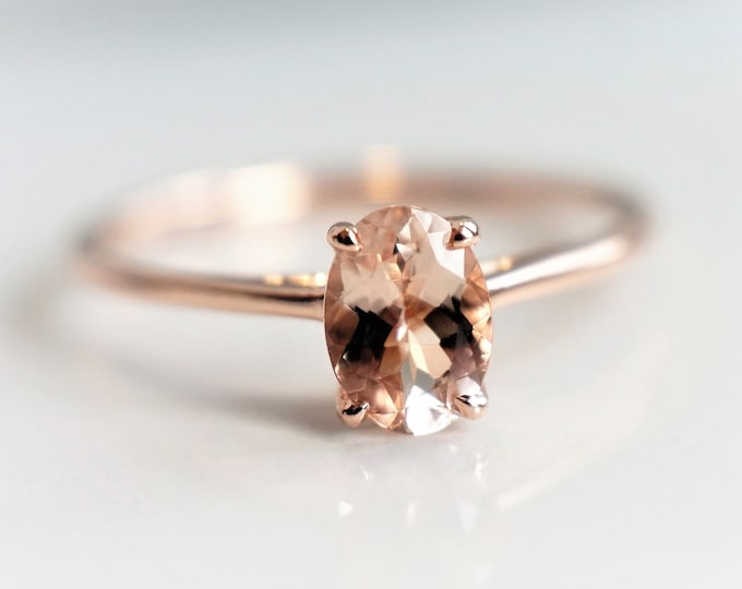 Ava - Oval Classic Solitaire Peach Pink Morganite Oval 7 x 5 mm , Rose Gold Ring, 14K Gold, Morganite Engagement Ring