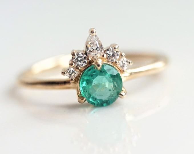 Olivia - Natural Emerald, solid 14k Gold Emerald and Diamond, Emerald Crown Ring, Emerald Diamond Ring, Emerald Engagement Ring