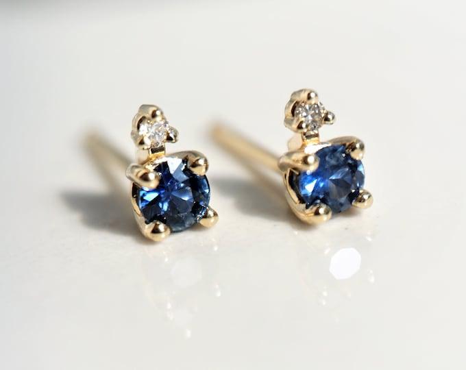 Ella - Tiny Two-Stone Blue Sapphire and Diamond Studs, Sapphire Stud Earrings - 4 Prong Earrings - Gold Stud Earrings, September stone