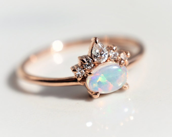 Olina - Australian Opal Ring, 14k  Opal Crown Ring, Diamond Opal Ring, Opal Engagement Ring, October Birthstone Ring, Coober Pedy Opal ring