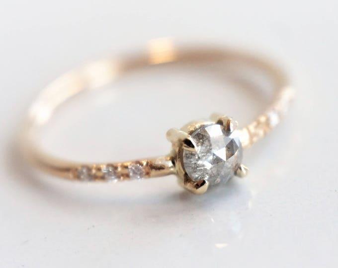 Naomi Gray Diamond - Natural Rose Cut Gray Diamond and White Diamond Ring, 14k Gold Diamond Ring, Dainty Ring, April Birthstone Ring
