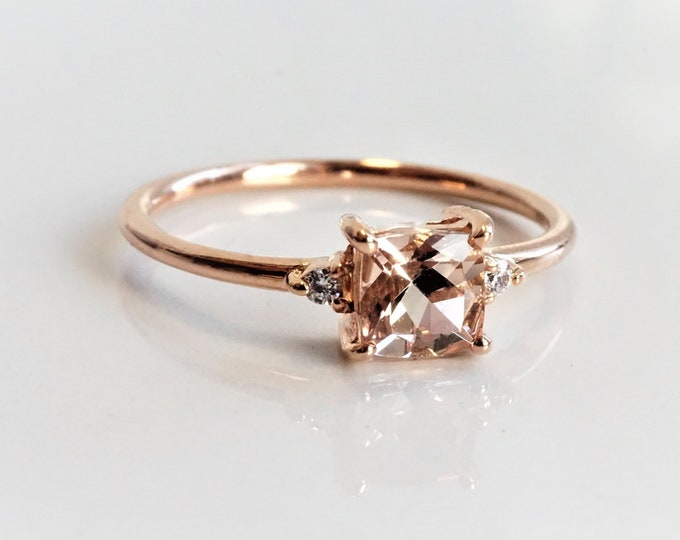 Bethany - Square Peach Morganite with diamonds ,14k Gold, Morganite Ring, Natural Diamond Morganite Ring, Morganite Engagement Ring