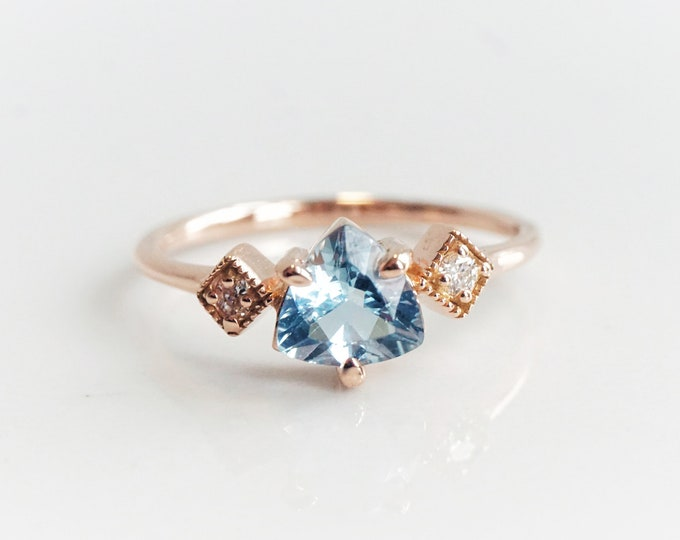 Macy - 0.6 ct Trillion Aquamarine 14k or 18k , Aquamarine Crown Ring, VS Diamond Aquamarine Ring, Unique Aquamarine Ring, March Birthstone