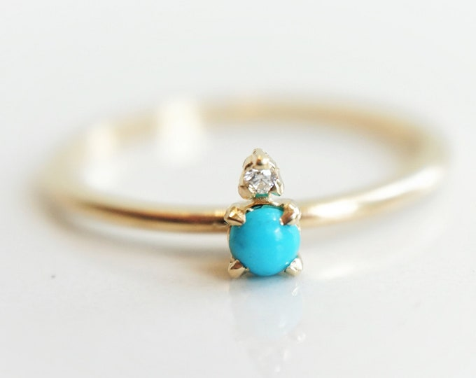 Ella - Natural Sleeping Beauty Turquoise solid 14k Gold, Accented Diamond Ring,Two-stone Ring,Turquoise Gold Ring, Stackable Ring