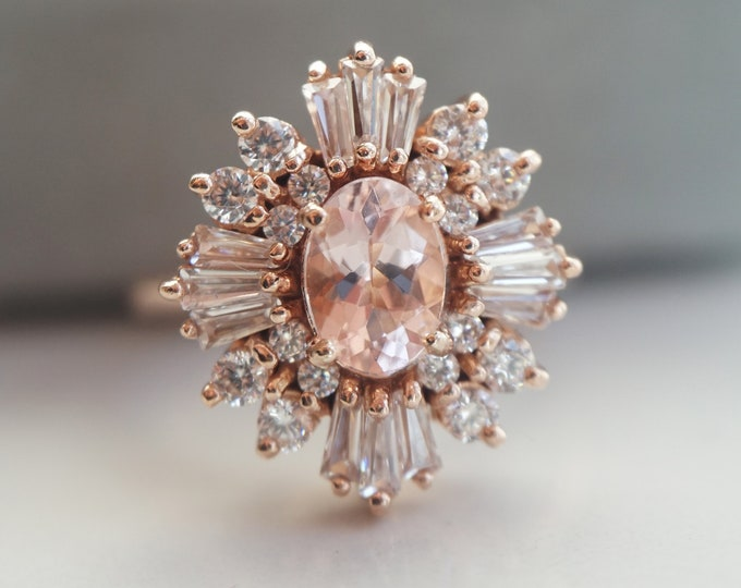 Victoria - solid 14k gold natural Morganite & CZ Art Deco Vintage-Inspired Halo Cluster Ring