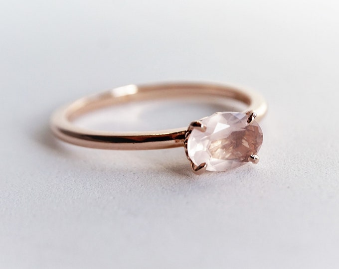 Fleur de lis - Vintage Inspired Natural Rose Quartz Horizontally Oval 7 x 5 mm  Rose Gold Ring/14K Rose Gold