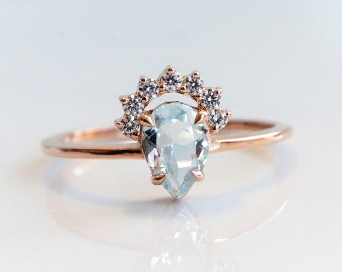 Lily - Pear Aquamarine & Diamond solid 14k Gold, Aquamarine Crown Ring, Aquamarine Birthstone Ring