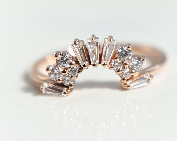 Ready To Ship - Victoria Crown No.1, 14k Rose Gold & CZ, Size US 7