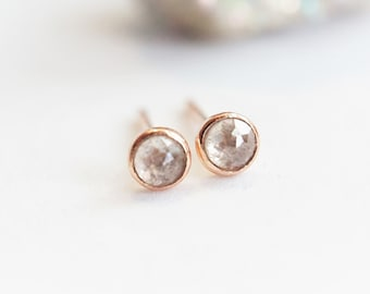 b9ce2f044 A pair of rustic Tiny 3 mm Rose cut Grey Diamond Stud Earrings - Bezel Set  Earrings -14k Gold Filled - Solid Gold - April Birthstone