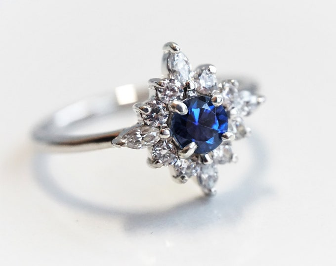 Skylar - Blue Sapphire solid 14k gold with 0.3 ct Diamond or CZ, Blue Sapphire Halo Cluster Ring, Sapphire Engagement Ring
