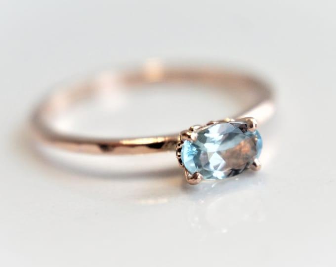 Fleur de lis -Aquamarine 6 x 4 Oval, solid 14K Rose Gold Aquamarine Ring, Hammered Ring, Aquamarine  Stackable Ring, March Birthstone Ring