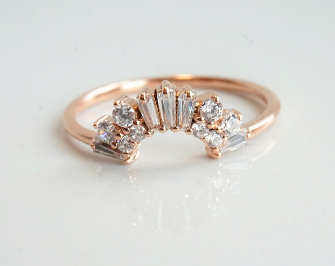 Victoria Crown No. 2 -  Vintage Art Deco Inspired 14K Gold 0.4 CT Diamond Contour Band, Crown Curved Band, Stacking Wedding Band, Diamond Ba