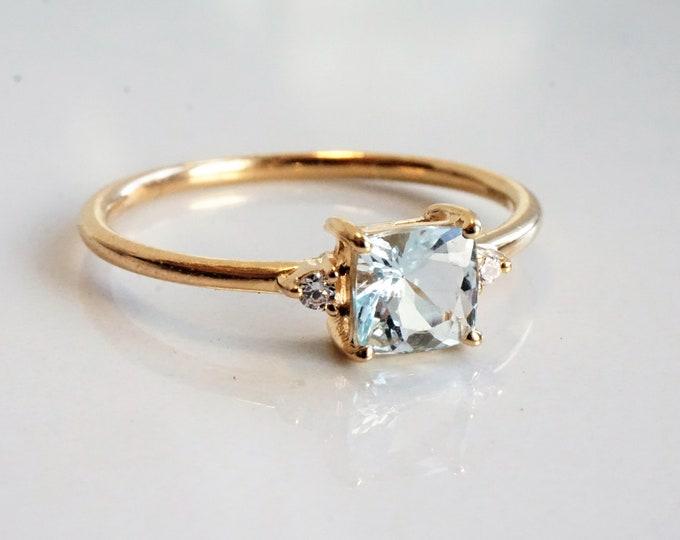 Bethany - Square Aquamarine with diamonds ,14k Gold,Aquamarine Ring, Natural Diamond Aquamarine Ring, Aquamarine Engagement Ring