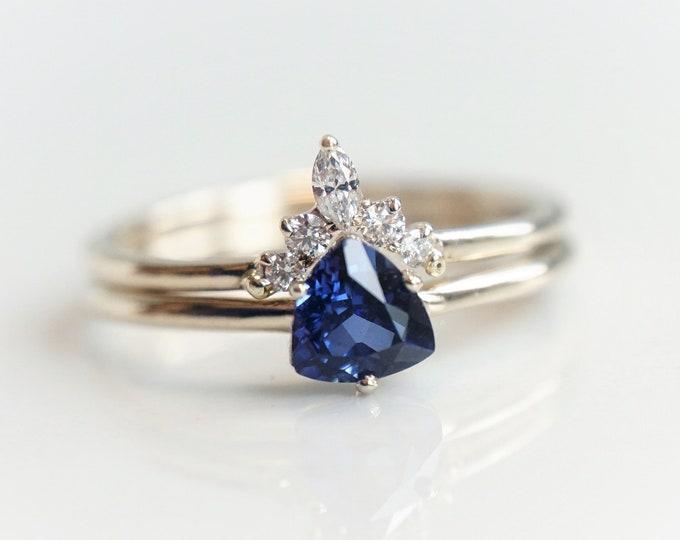 Trinity - Blue Sapphire Trillion, 14k Sapphire Ring, Sapphire Engagement ring, Sapphire Gold ring, Sapphire Diamond, September Birthstone