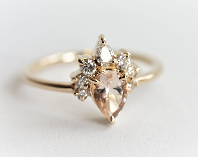 Ophelia - Pear Morganite 14k Gold Morganite Crown Ring, Dainty Diamond Morganite Ring, Unique Morganite Engagement Ring, Pear Morganite Ring