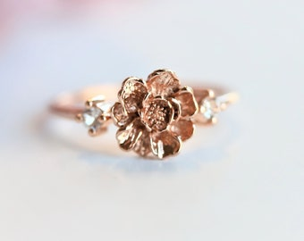 Peony No.5 - 14K Peony Ring with side white sapphire | Solid 14k Gold Flower Ring | Flower Ring | Floral Ring | Flower Engagement Ring