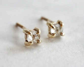 Tiny 3 mm Rose Cut Diamond Stud Earrings - 4 Prong Earrings - Gold Stud Earrings 14K - April Birthstone Gift