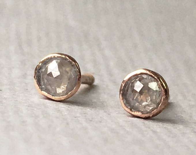 A pair of rustic Tiny 3 mm Rose cut Grey/White Diamond Stud Earrings - Bezel Set Earrings -14k Gold Filled - Solid  Gold  - April Birthstone