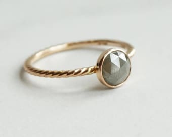 6 mm Rose Cut Diamond Ring - Twisted Rope Band Ring - Solid 14K Gold Ring - Stacking Ring - Unique Engagement Ring