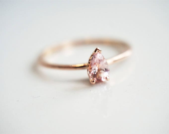 Claire - Pear Shaped 6 x 4 mm Baby Pink Morganite V end Vintage Setting, 14K Rose Gold Morganite Ring, Stackable Ring