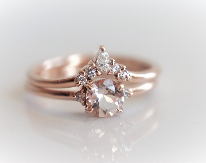Sophie Set - A set of Peach Pink Morganite and natural diamond Crown Ring, 14k or 18k Gold Diamond Morganite Ring, Unique  Engagement Ring