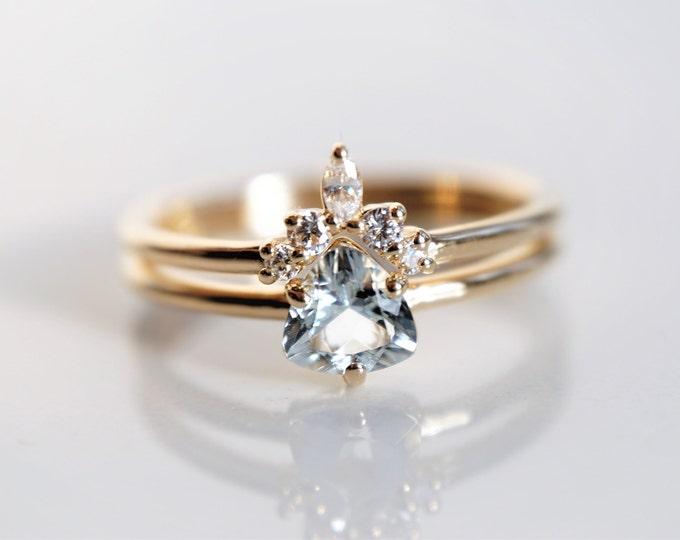 Trinity - Aquamarine Trillion, 14k  Aquamarine Ring,  Aquamarine Engagement ring,  Aquamarine Rose Gold ring,  Aquamarine Diamond ring