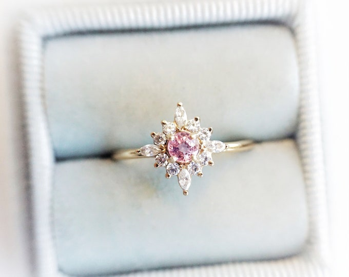 Skylar - Pink Sapphire solid 14k gold with 0.3 ct Diamond or CZ, Pink Sapphire Halo Cluster Ring, Sapphire Engagement Ring