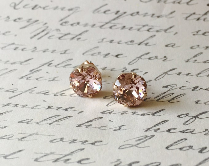 Crystals from SWAROVSKI® - Vintage Rose - Blush Rose - 10 mm Square Studs - Rose Gold Earrings - Bridal Jewelry - Bridesmaids gifts