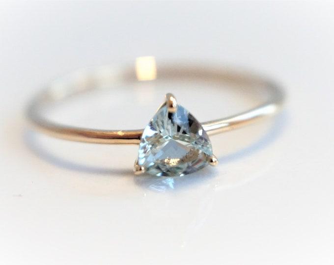 AVA - Aquamarine Trillion, 14k  Aquamarine Ring,  Aquamarine Engagement ring,  Aquamarine Rose Gold ring,  Aquamarine Diamond ring