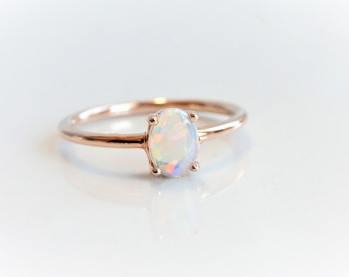 EVA - Australian Opal Ring, 14k Opal Ring, Oval Opal Ring, Opal Engagement Ring, October Birthstone Ring, Opal Solitaire ring