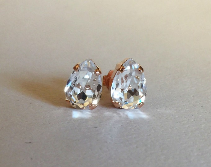 Crystals from Swarovski® - Clear Crystal - 7 x 10 mm Pear Shape Studs - Rose Gold Earrings - Bridal Jewelry - Bridesmaids gifts