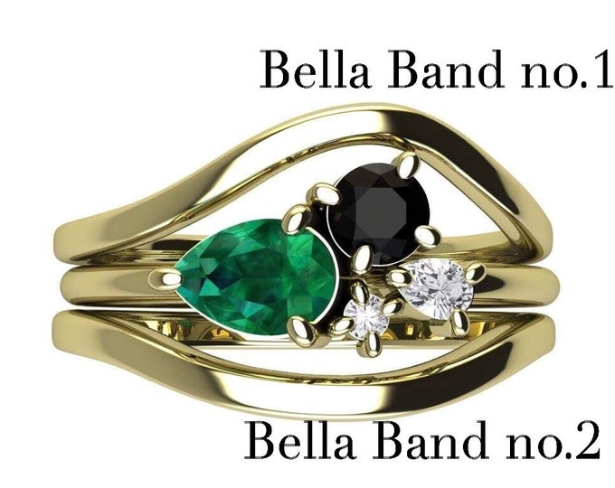 Matching Band for Bella ring - 14k Gold contour band, nesting band, wedding band