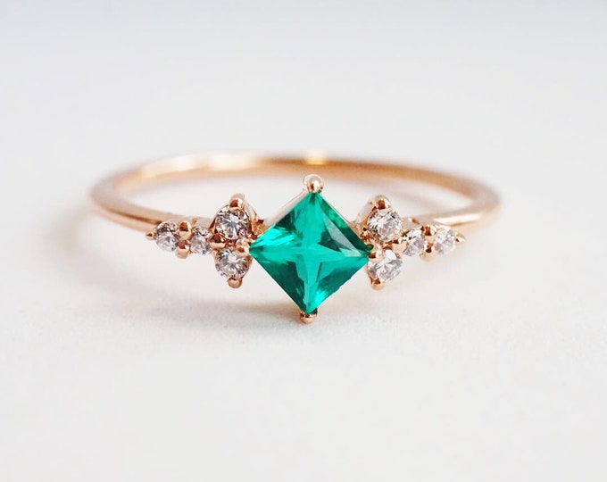 Scarlett - Chatham® Created Emerald & Natural Conflict Free Diamond in 14k gold, solid 14k Gold Emerald ring, Emerald Diamond ring