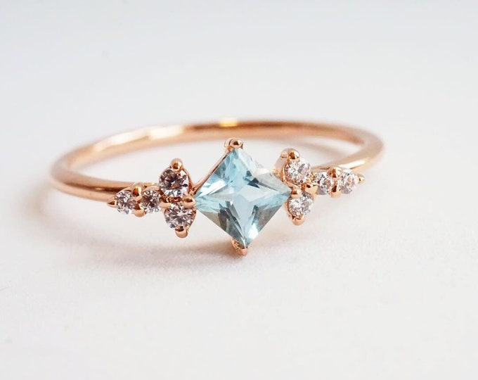 Scarlett - Natural Aquamarine & Conflict Free Diamond in 14k gold, solid 14k Gold Aquamarine ring, Aquamarine Diamond ring