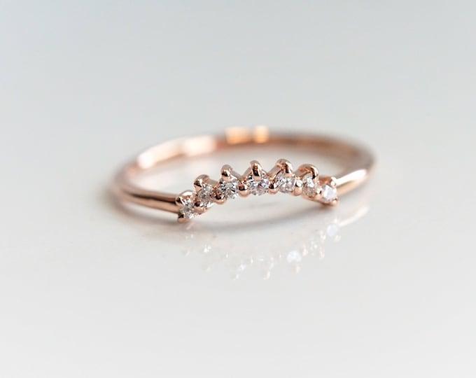 Sophie Crown No.2 - 14K Gold Diamond Contour Band, Crown Curved Band, Diamond Stacking Ring, Stacking Wedding Band, Diamond Wedding Band