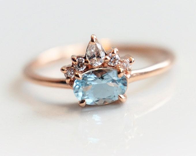 Olina - Aquamarine 14k Gold Aquamarine Crown Ring, Diamond Aquamarine Ring, Unique Aquamarine Engagement Ring, March Birthstone