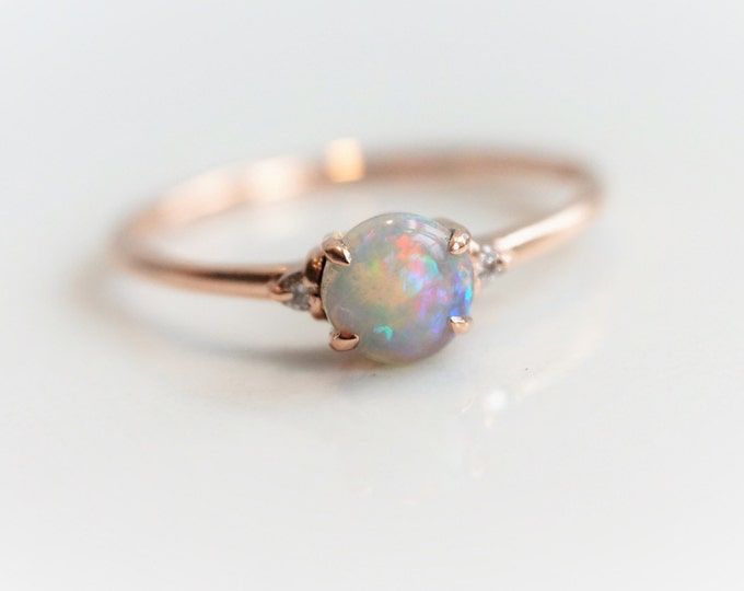 Sophie - Australian Opal Ring, 14k  Opal Crown Ring, Diamond Opal Ring, Opal Engagement Ring, October Birthstone Ring, Coober Pedy Opal ring