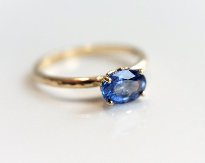 Fleur De Lis - Blue Ceylon Sapphire Engagement Ring, 14k Vintage Inspired Sapphire Ring, Sapphire Gold Ring, Sapphire Oval ring
