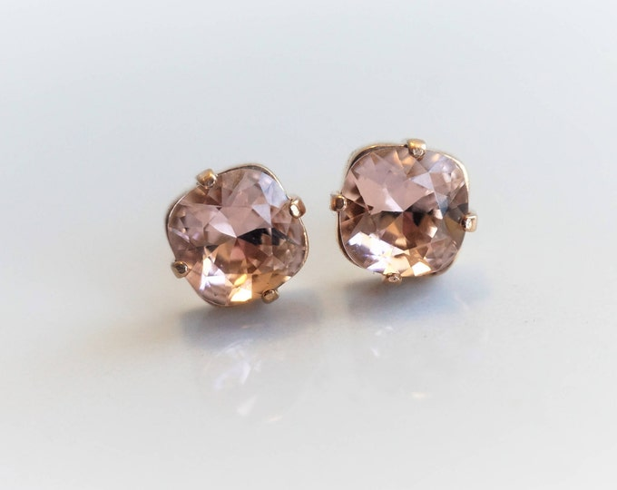 Crystals from SWAROVSKI®, 14k gold vermeill, Vintage Rose - 8 mm Square Studs - Rose Gold Earrings - Bridal Jewelry - Bridesmaids gifts