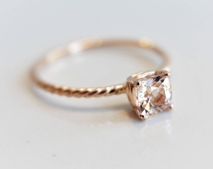 Solid 14k Gold Twisted Rope Cushion Cut Morganite Solitaire Ring/Morganite Engagement Ring/ Morganite Stackable Ring