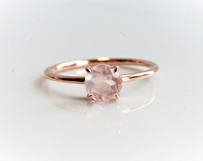EVA - Rose Quartz Round 6 mm, 14k Rose Quartz Ring, Rose Quartz Engagement ring, Rose Quartz Rose Gold ring