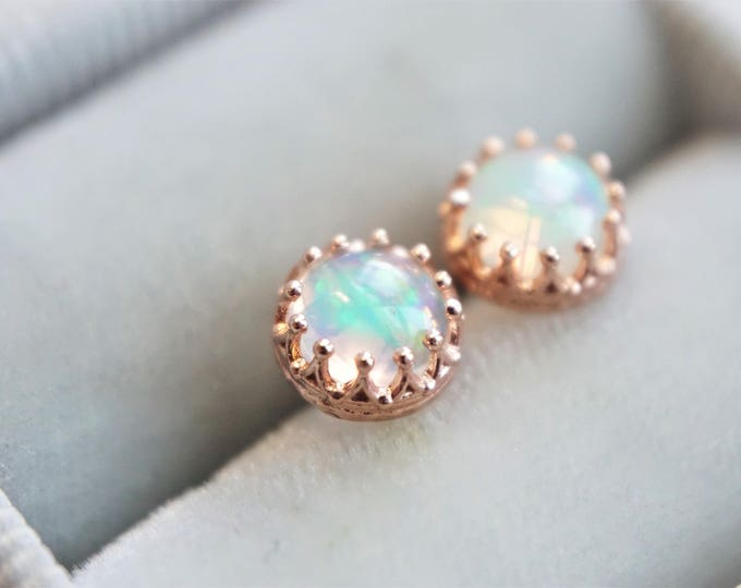 A pair of 6 mm Natural Ethiopian Opal 14k Vermeil earrings, Rose Gold Plated Sterling Silver, Solid 14K Gold, Crown Earrings, Opal Studs