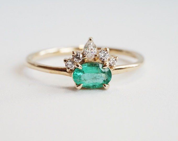 Olina - Natural Emerald, solid 14k Gold Emerald and Diamond, Emerald Crown Ring, Emerald Diamond Ring, Emerald Engagement Ring